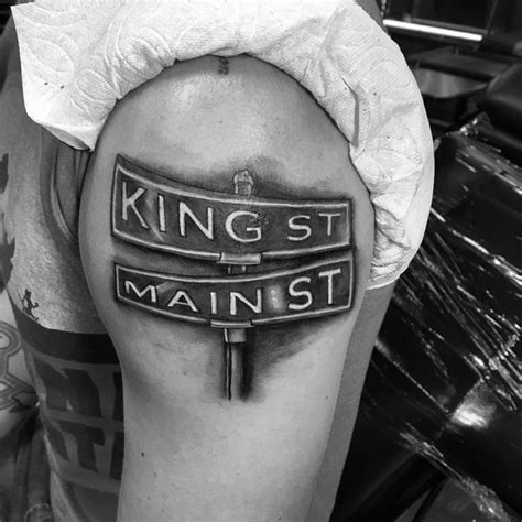 street sign tattoo 30 sign ideas for navigational designs