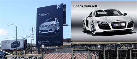 Is Audi Or Bmw Better The Historic Bmw Vs Audi Billboard Ad War In Pictures
