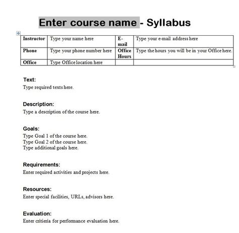 create a syllabus template 25 best ideas about syllabus template on