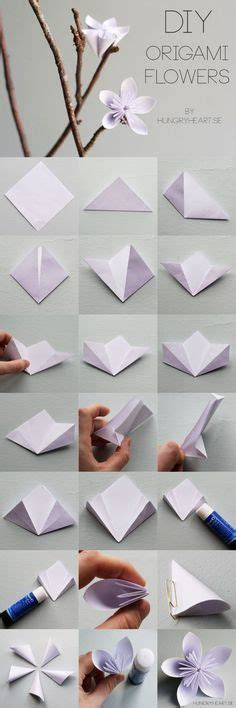 How To Fold Origami Flowers - diy origami paper flower bouquet howtoinstructions us