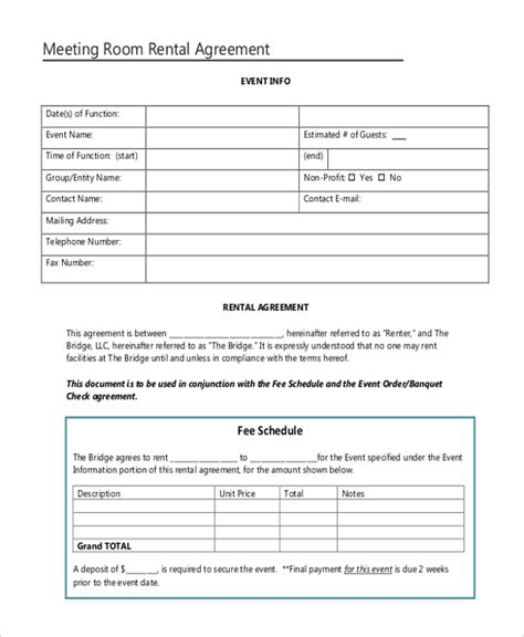 Sle Room Rental Agreement Form 10 Free Documents In Doc Pdf Hotel Meeting Room Contract Template