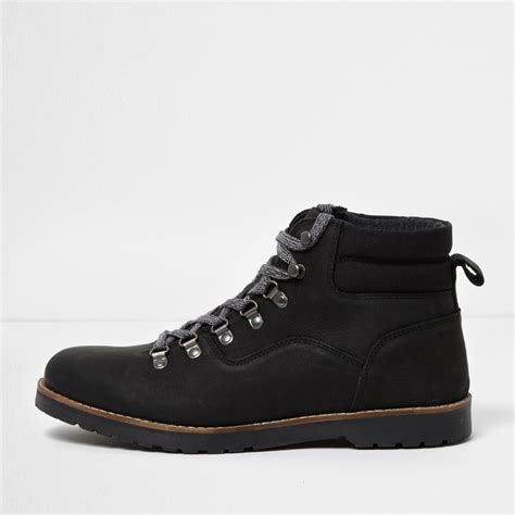 black leather lace up work boots boots shoes boots