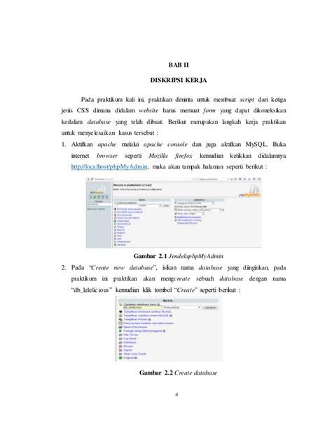 langkah membuat laporan praktikum laporan praktikum basis data modul vi membuat website