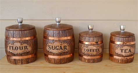 cute kitchen canister sets canisters ceramic treasure craft wooden barrel style with