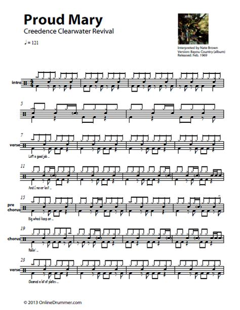 drum pattern for wipeout proud mary ccr drum sheet music thumbnail music sheets