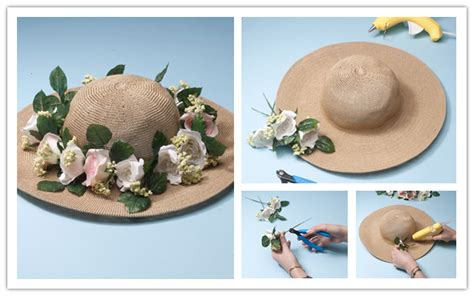 How To Decorate A Hat by How To Decorate Pretty Floral Sun Hat Step By Step Diy