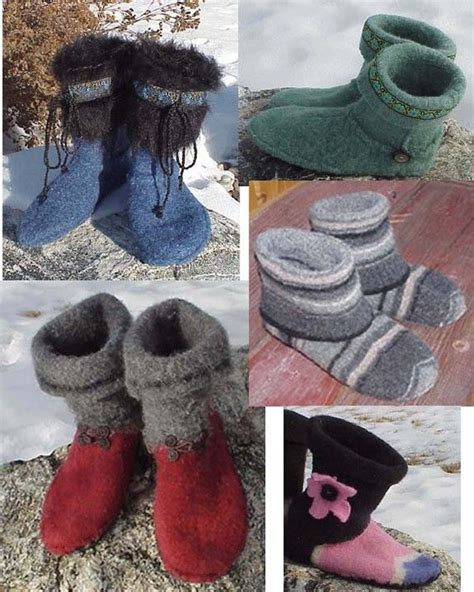 felt pattern cutter ez felted slipper boot pattern cut sew felt from old wool