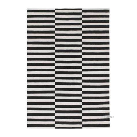 Modern Black And White Rugs Ikea Stockholm Black White Broken Stripe Area Rug Mat Wool Modern Flatwoven