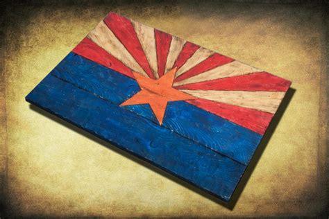 Handmade Flags - arizona flag handmade distressed painted wood vintage
