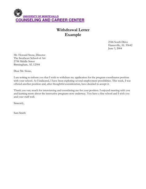 Scholarship Withdrawal Letter Letter Application Writing