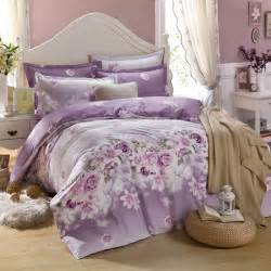 Bed Sheets King Size Purple Flowers Printing Bedding Set King