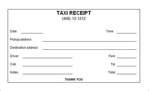 free receipt template maker 7 taxi receipt templates word excel pdf formats