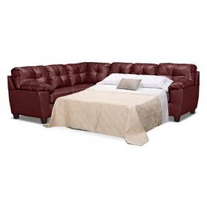 Leather Sectional Sleeper Sofas Rialto Ii Leather 2 Pc Sleeper Sectional Value City Furniture