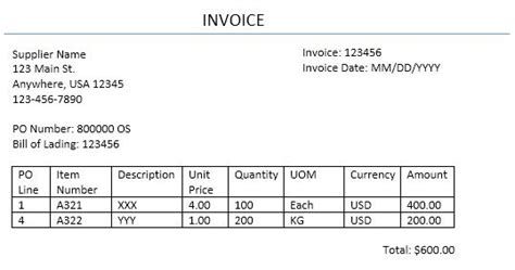 supplier invoice template home accounts payable