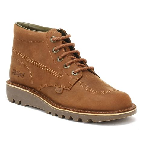 Boots Brown Kickers kickers kick hi leather boots in brown for lyst