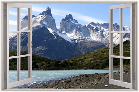 mountain wall murals 3d window view mountain wall sticker mural decal wallpaper ebay