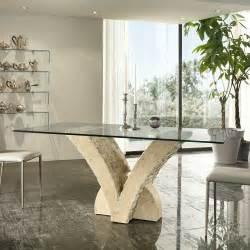 esszimmer tisch esszimmertisch studiana mit steinfu 223 und glasplatte
