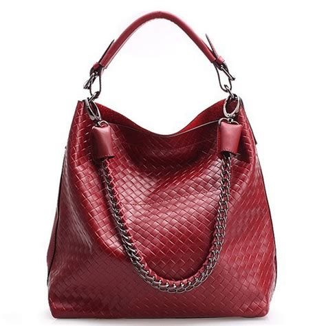 Promo Tas Fashion 2in1 Opca2368 new genuine cow leather womens fashion woven chain handbags 2 in 1 shoulder bag tote in shoulder