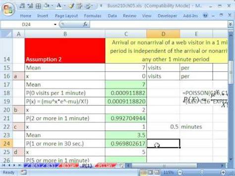 excel statistics 65 poisson function poisson probability