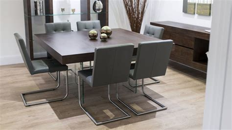 grey wood dining table modern square wood dining set glass legs real