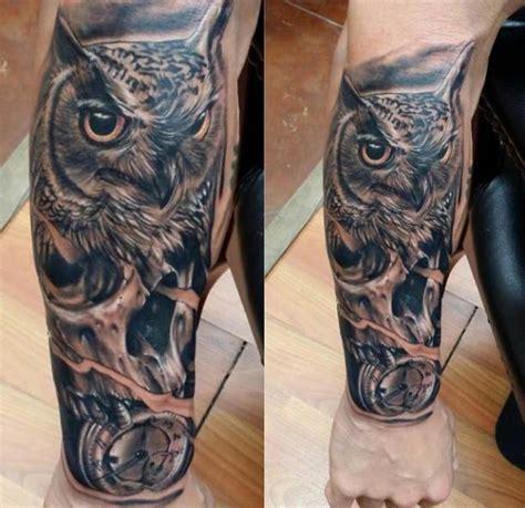 owl tattoo unterarm owl and clock forearm tattoo ideas tattoo designs