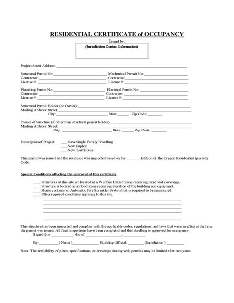 certificate of occupancy template certificate of occupancy residential form and format
