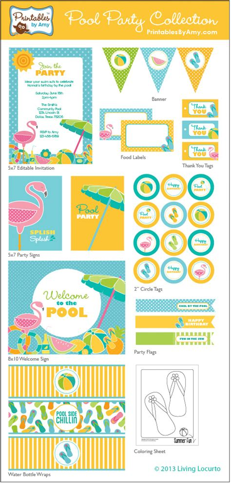 printable summer party decorations pool party collection printables party printables by