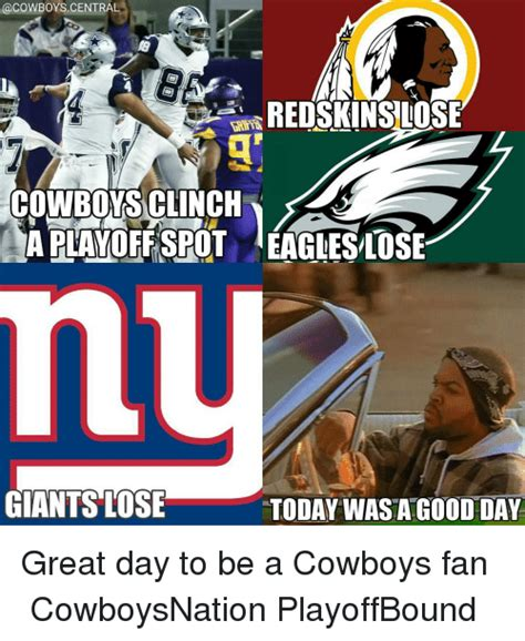 Cowboys Redskins Meme - acowboyscentral redskins lose cowboy sclinch aplayoffspot eagleslose giants lose today was a