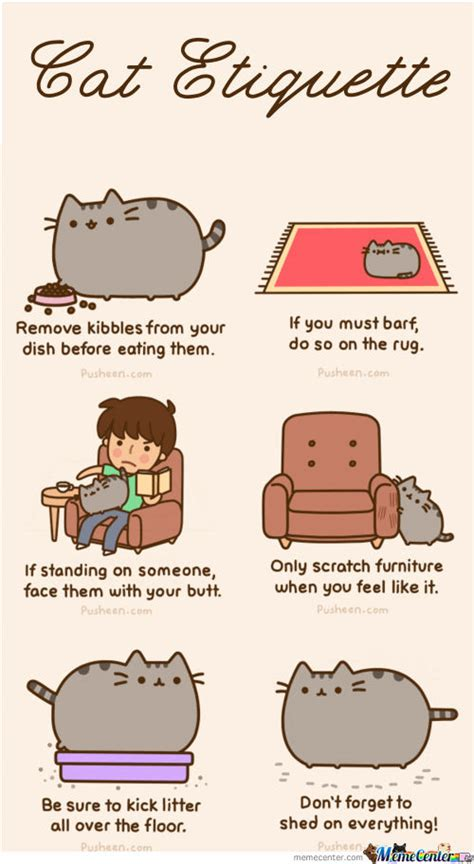 Pusheen Cat Meme - pusheen 180 s cat etiquette by mandala meme center