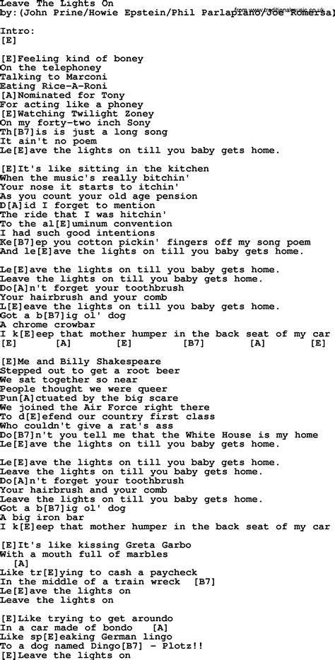 Leave The Light On Lyrics by Leave The Lights On Bluegrass Lyrics With Chords