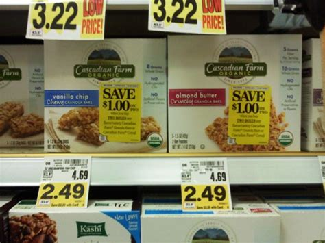 Shelf Of Granola Bars by Cascadian Farms Organic Bars And Cereal Deal At Kroger