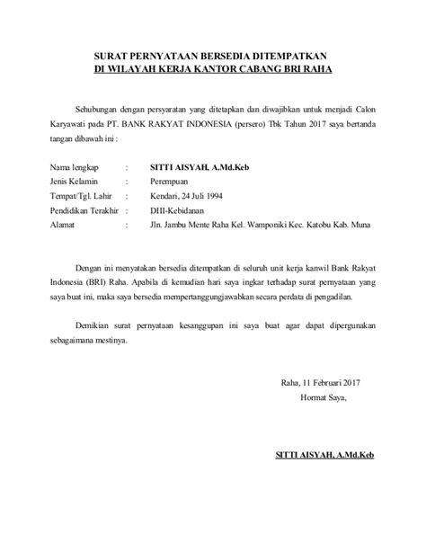 Contoh Surat Pernyataan Bersedia Ditempatkan Dimana Saja by Surat Pernyataan Bersedia Ditempatkan Di Seluruh Unit