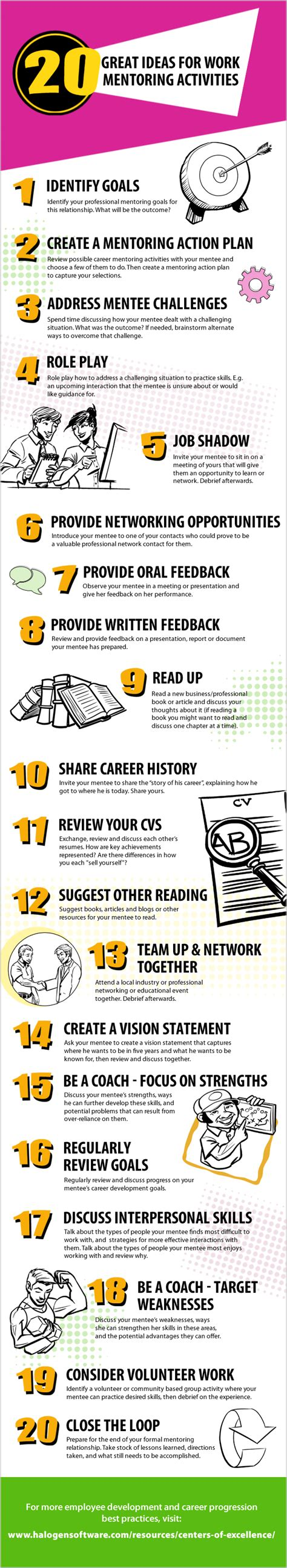 coaching and mentoring a framework for fostering organizational change books 20 great ideas for work mentoring activities infographic
