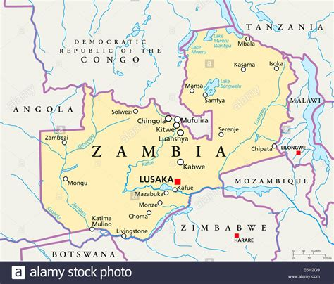 map of lusaka city zambia political map with capital lusaka national borders