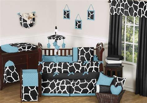 Black And White Boy Crib Bedding by Black Blue White Giraffe Animal Print Boy Baby