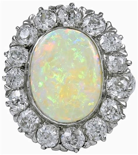 spectacular antique opal platinum ring for sale at