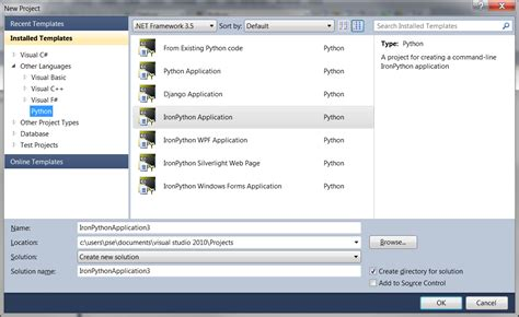 android templates for visual studio 2010 wpf problems with installing python tools for visual