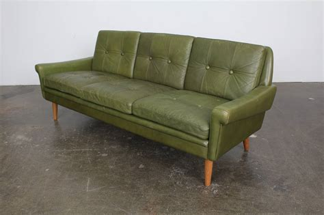 green leather couch mid century modern green leather sofa by skippers mobler