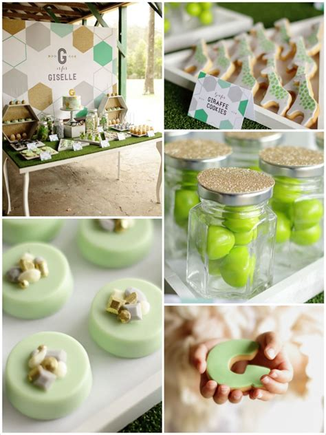 party themes green kara s party ideas geometric green grey and gold birthday