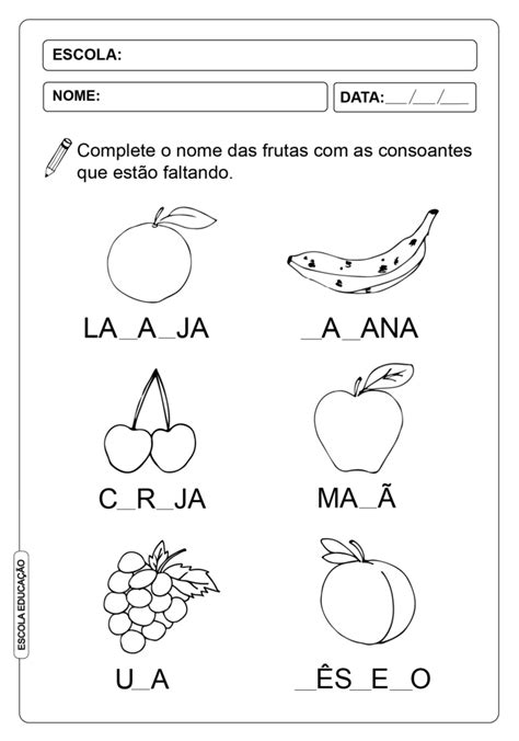 ATIVIDADES DE COMPLETAR PALAVRAS 07 - CONSOANTES - Escola