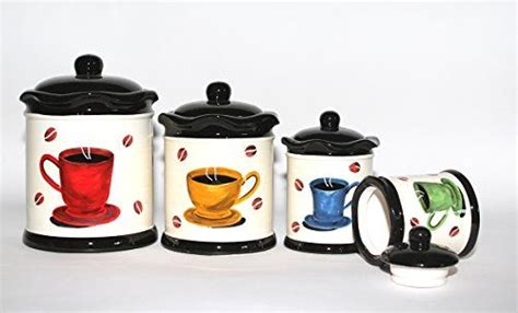 coffee themed kitchen canisters tuscany colorful coffee bean hand painted canister set of