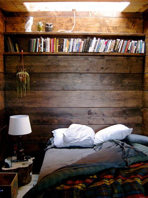 Wood Bedroom by Moon To Moon Earthship For Sale