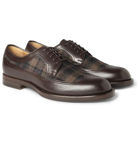 plaid oxford shoes gucci leather and plaid flannel oxford shoes in brown for