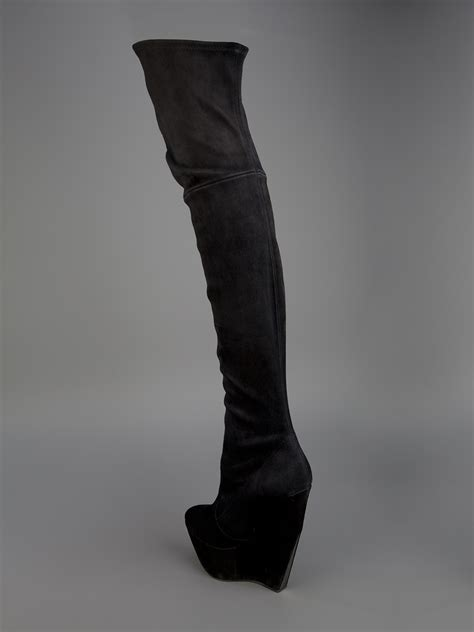 casadei fitted thigh high boot in black lyst