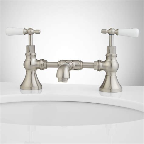 Monroe Bridge Bathroom Faucet Porcelain Lever Handles Bridge Bathroom Sink Faucets