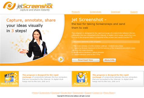 website design for jet screenshot home page