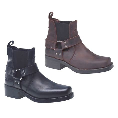 Sepatu Boots Cowboy Bikers Kulit Pull Up Premium Best Quality Product gringos harley harness mens black brown cowboy biker ankle boots size 7 11 ebay