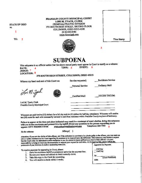 Person Record Prosecution Criminal History Subpoena Information