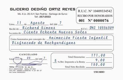 retencion de dinero por sunat recibos por honorarios 2016 documentacion empresarial recibos por honorarios