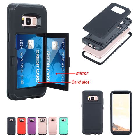 Flip Mirror Wallet Samsung S8 by Wallet Credit Card Holder Flip Mirror Back Cover For